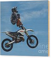 Hanging On Motorcycle Tricks  Wood Print