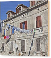 Hanging Out To Dry In Rovinj Wood Print
