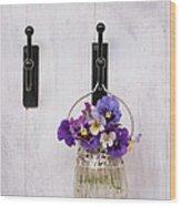Hanging Pansies Wood Print