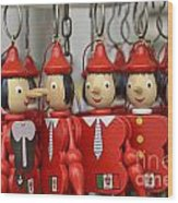 Hanging Pinocchios Puppets Wood Print