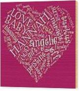 Hannah Heart Fuschia Wood Print