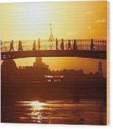 Hapenny Bridge Over River Liffey River Wood Print