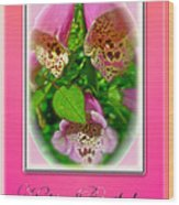 Happy Birthday Card - Foxgloves Wood Print