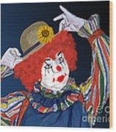 Happy Clown Wood Print