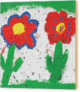 Happy Colorful Flowers Wood Print