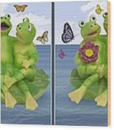 Happy Frogs - Gently Cross Your Eyes And Focus On The Middle Image Wood Print
