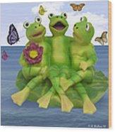 Happy Frogs Wood Print