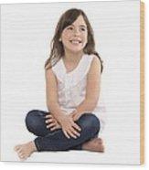 Happy Girl Wood Print