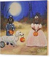 Happy Halloweenies Mummy Policeman And Princess Wood Print by Stella Violano