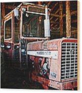 Happy Harvestor Tractor Wood Print