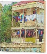 Happy Hour Washday Belize Wood Print