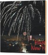 Happy New Year Card Wood Print