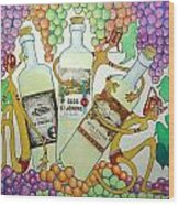 Happy People With Wine Wood Print by Glenn Calloway