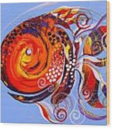 Happy Rainbow Fish Wood Print