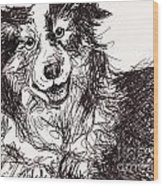 Happy The Boarder Collie Wood Print