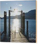 Harbor And Sun Wood Print