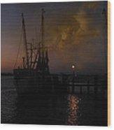 Harbor At Dusk Wood Print