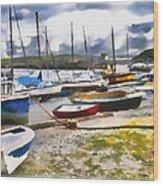 Harbor Boats Wood Print