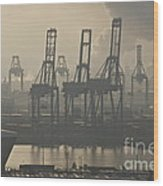 Harbor Cranes Wood Print
