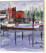 Harbor Fishing Boats Wood Print
