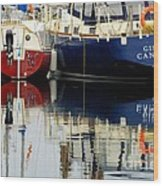 Harbor Reflections  Wood Print by Bob Christopher