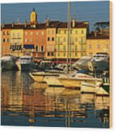 Harbour Boats And Waterfront Houses, St Tropez, Provence-alpes-cote D'azur, France, Europe Wood Print by David Tomlinson