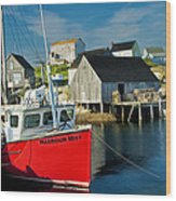 Harbour Mist In Peggy's Cove No 103 Wood Print