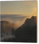 Harris Beach Sunset Panorama Wood Print