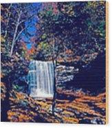 Harrison Wright Falls In Fall Wood Print