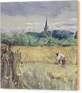 Harvest Field At Stratford Upon Avon Wood Print
