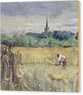 Harvest Field At Stratford Upon Avon Wood Print