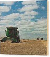 Harvest On The Canadian Prairies Wood Print