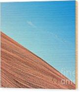 Harvested Crop Lines And Clear Skies Wood Print