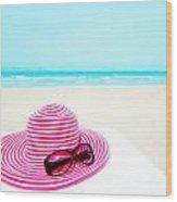 Hat And Sunglasses Wood Print