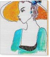 Hat Lady 15 Wood Print