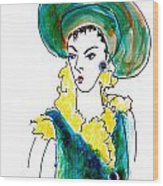 Hat Lady 16 Wood Print