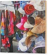 Hats And Purses At Street Fair Wood Print