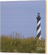 Hatteras Light Over The Dunes Wood Print