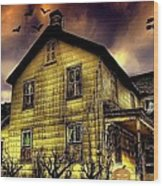 Haunted Halloween House Wood Print