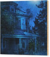Haunted House Full Moon Wood Print by Jill Battaglia