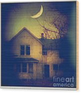 Haunted House Wood Print by Jill Battaglia