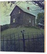 Haunted House On A Hill With Grunge Look Wood Print by Sandra Cunningham