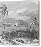 Havana, Cuba, 1851. /na View Of The Harbor And Fort Of Atares. Wood Engraving, English, 1851 Wood Print