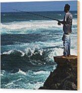 Hawaiian Fisherman Wood Print