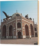 Hawk Flying Next To Humayun Tomb Delhi Wood Print