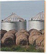 Hay And Grain Bins Wood Print