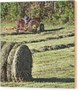 Hay Bale And Tractor Wood Print