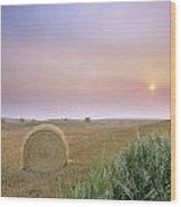 Hay Bales And Sunrise In Fog Wood Print
