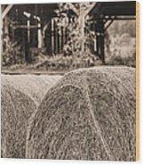 Hay Bw Wood Print