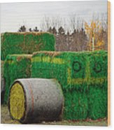 Hay Tractor Wood Print